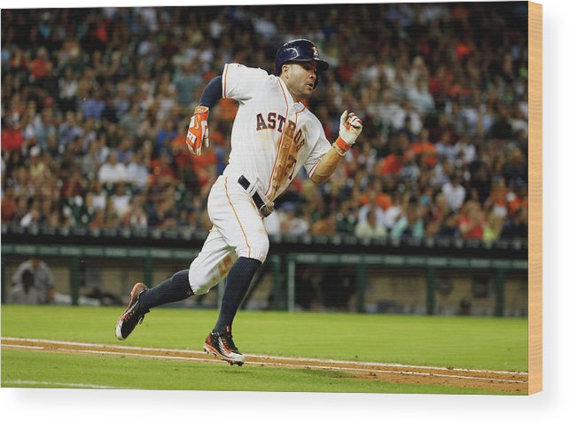 People Wood Print featuring the photograph New York Yankees V Houston Astros by Scott Halleran