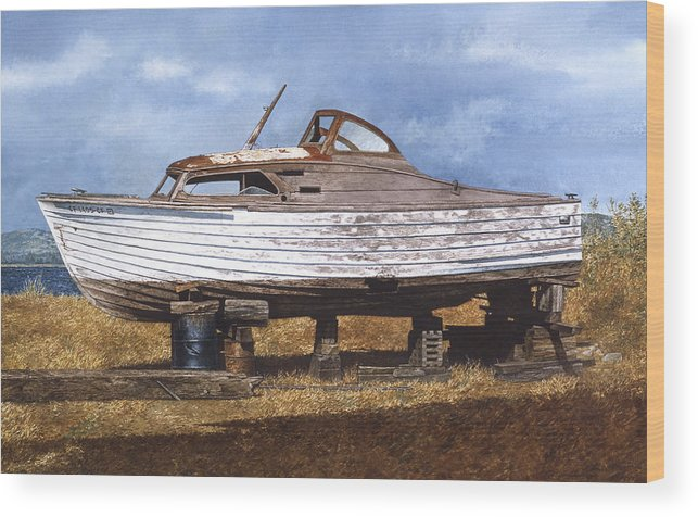 Boats Wood Print featuring the painting Old Salt by Tom Wooldridge