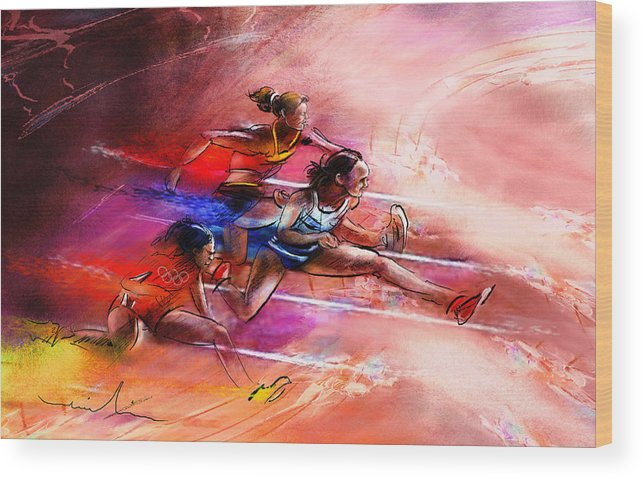 Sports Wood Print featuring the painting Olympics Heptathlon Hurdles 01 by Miki De Goodaboom