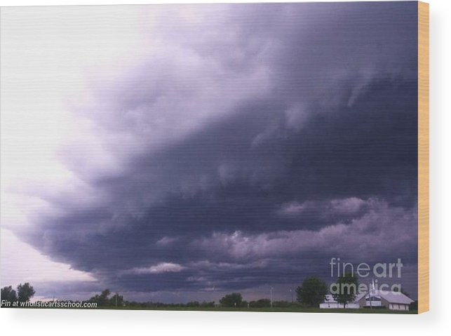 Ominous Clouds Wood Print featuring the photograph Ominous Clouds by PainterArtist FIN