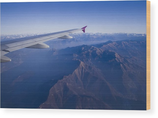 Italy Wood Print featuring the photograph Plane Flying In Mountain by Ioan Panaite