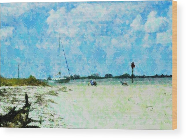 Beach Wood Print featuring the mixed media Quiet Beach Day by Florene Welebny
