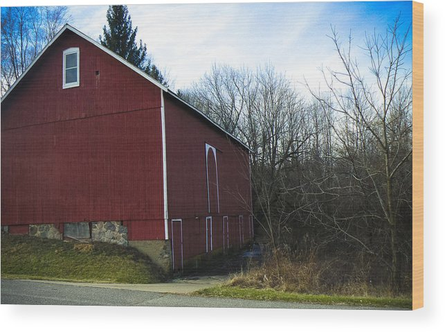 Digital Photography Barn Red Rual Trees Sky Country Landscape Posters Prints Greeting Cards Wood Print featuring the mixed media Red Barn by Connie Dye