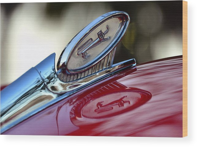 1960 Ford Galaxy Starliner Hood Ornament Wood Print featuring the photograph Reflections Of Pride by David Lee Thompson