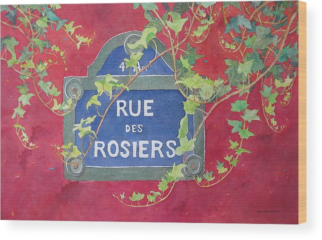Red Wall Wood Print featuring the painting Rue Des Rosiers In Paris by Mary Ellen Mueller Legault