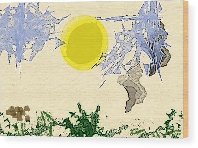 Digital Landscape Wood Print featuring the digital art Sky Abstract by Joel Hunt