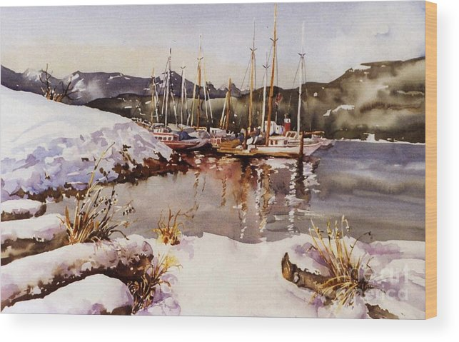 Landscape Wood Print featuring the painting Special Winter In Vancouver by Marta Styk