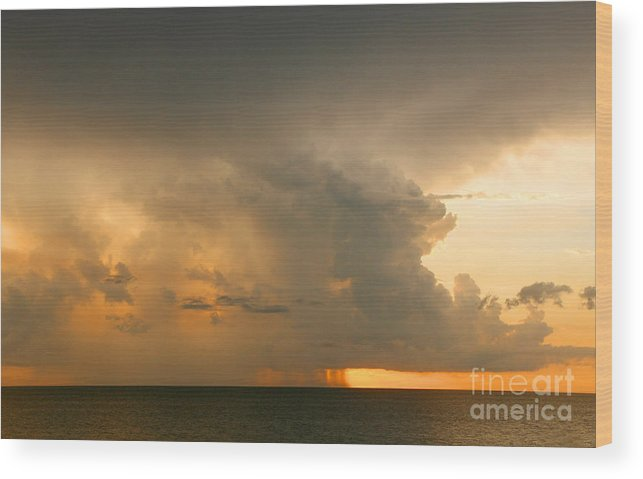 Storm Wood Print featuring the photograph Stormy Sunset by Mariarosa Rockefeller