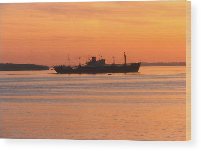 Ship Wood Print featuring the photograph Sunset Over A Ship by Brian Lucia