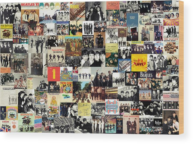 The Beatles Wood Print featuring the digital art The Beatles Collage by Zapista Zapista