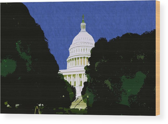 Capitol Wood Print featuring the painting The Capitol by Pharris Art
