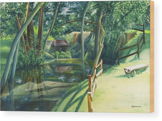 Watermill Wood Print featuring the painting The Watermill Of Gemage by Christian Simonian