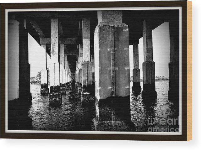Bridge Wood Print featuring the digital art Under The Bridge by Digital Designs By Dee