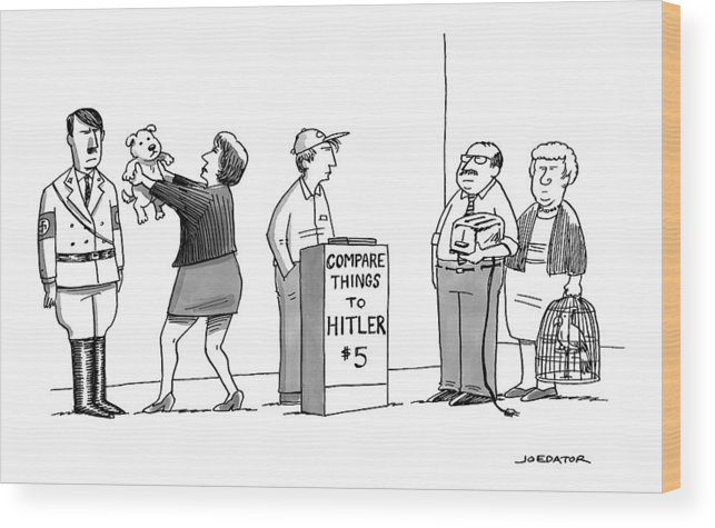 Hitler Wood Print featuring the drawing New Yorker September 5th, 2016 by Joe Dator