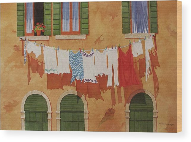 Venice Wood Print featuring the painting Venetian Washday by Mary Ellen Mueller Legault