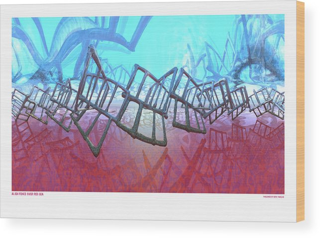 Fence Wood Print featuring the digital art Alien Fence Over The Red Sea by Erik Tanghe