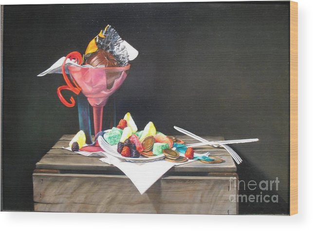Candy Wood Print featuring the painting Emptly Sustenance by Joan Brady