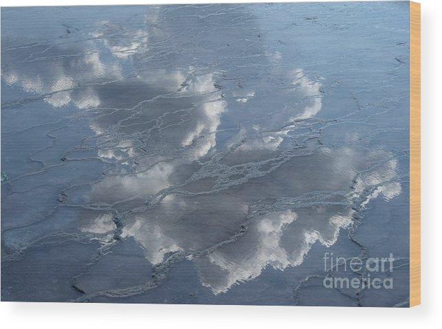 Yellowstone Wood Print featuring the photograph Geyser Basin Cloud Reflection by Sandra Bronstein