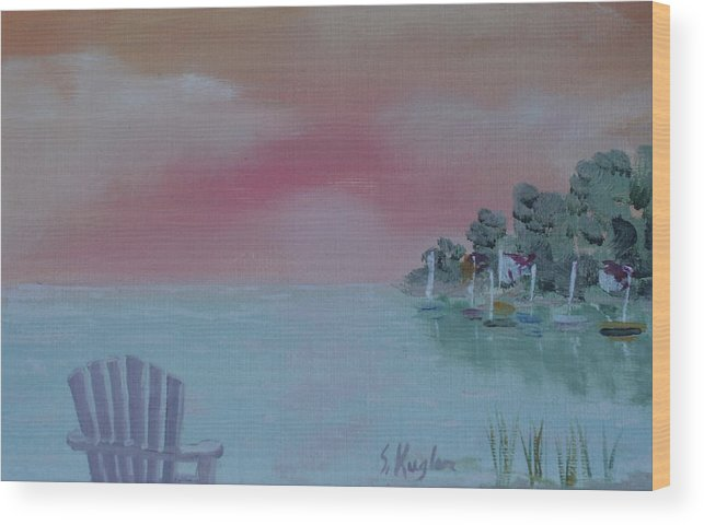 Water Wood Print featuring the painting Lone Chair by Scott Kugler