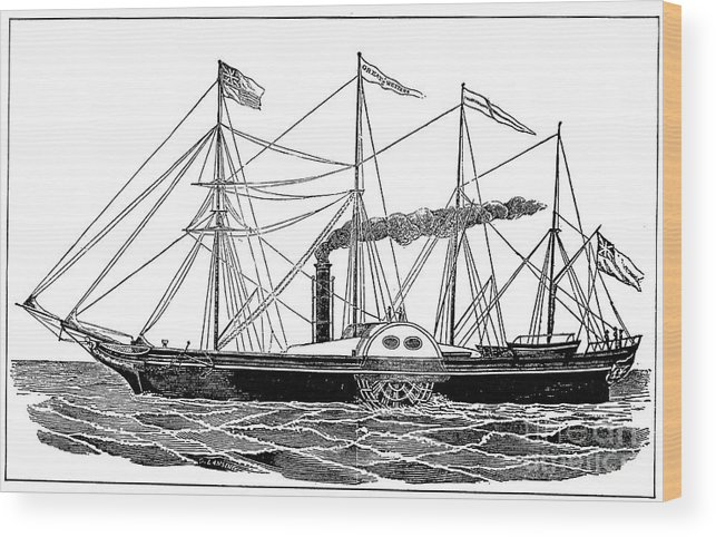 1838 Wood Print featuring the photograph Merchant Steamship, 1838 by Granger