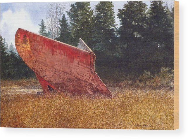 Landscape Wood Print featuring the painting Road Warrior by Tom Wooldridge