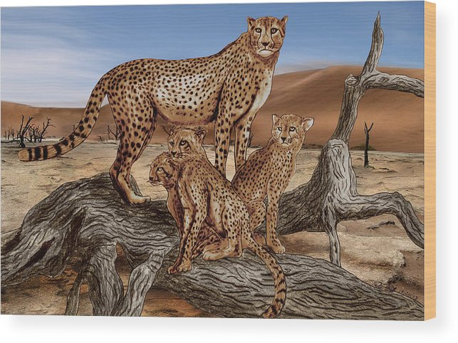 Cheetah Family Tree Wood Print featuring the drawing Cheetah Family Tree by Peter Piatt