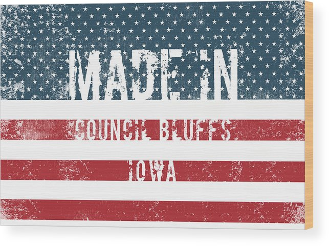 Made Wood Print featuring the digital art Made In Council Bluffs, Iowa by Tinto Designs