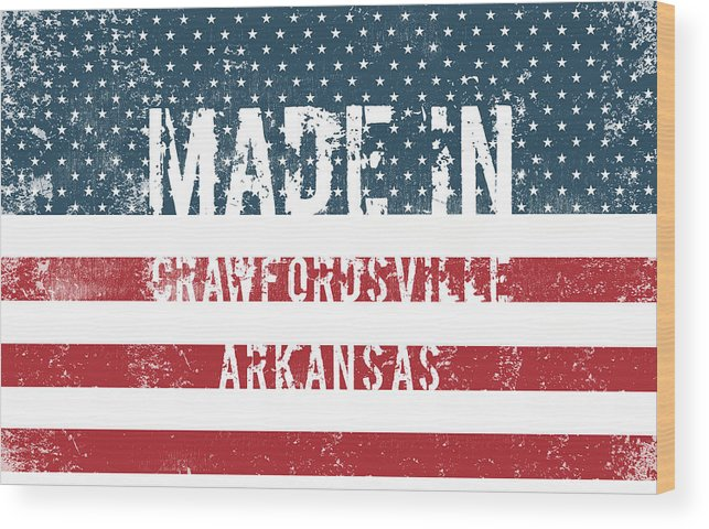 Made Wood Print featuring the digital art Made In Crawfordsville, Arkansas by Tinto Designs