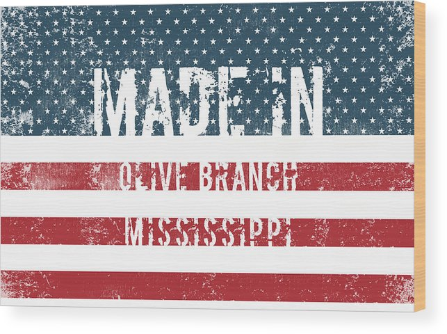 Olive Branch Wood Print featuring the digital art Made In Olive Branch, Mississippi by Tinto Designs