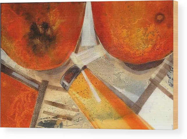 Wood Print featuring the painting Orange Still Life by Evguenia Men