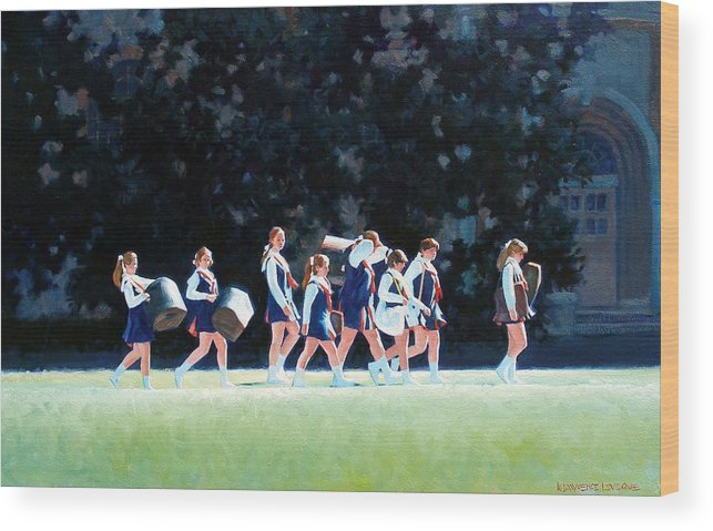 Band Wood Print featuring the painting Pep Squad by Kevin Lawrence Leveque