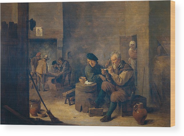 Baroque Wood Print featuring the painting Smokers by David Teniers the Younger