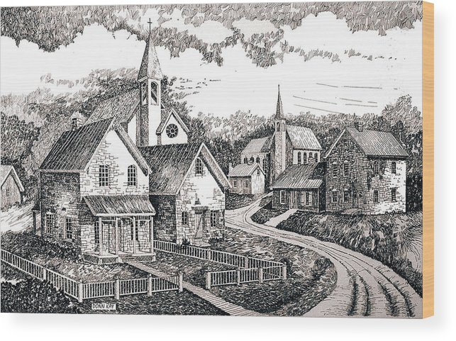 Western Art Sunday Houses Wood Print featuring the drawing Sunday Houses Along Old Church Street by Donn Kay