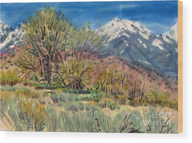 Western Landscape Wood Print featuring the painting East Of The Sierra Nevadas by Donald Maier