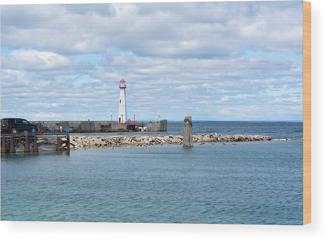 St. Ignace Lighthouse Wood Print featuring the photograph Lots Of Blue by Linda Kerkau