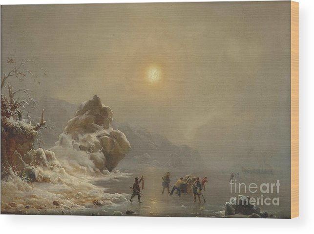 Andreas Achenbach - A Winter Landscape With Hunters On The Ice Wood Print featuring the painting A Winter Landscape With Hunters On The Ice by Celestial Images