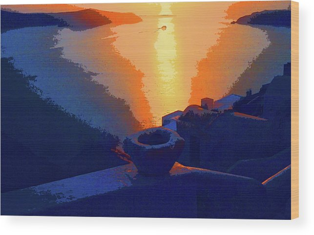 Sunset Wood Print featuring the photograph Agean Sunset by Rianna Stackhouse