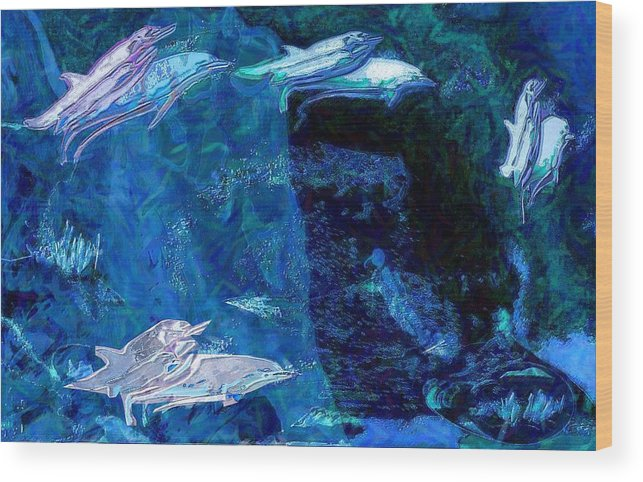Dolphins Wood Print featuring the digital art Amidst Dolphins by Mushtaq Bhat