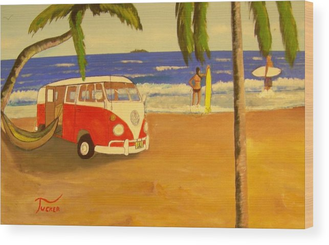 Vw Minibus Wood Print featuring the painting Another Groovy Beach Weekend by David Earl Tucker