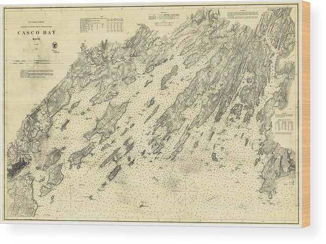 Antique Maps Old Cartographic Maps Antique Map Of Casco Bay - Antique map of maine