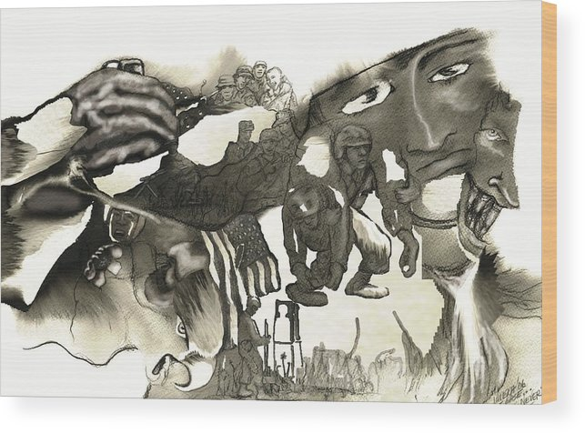 Military Wood Print featuring the drawing At Ease Never by Valera Ainsworth