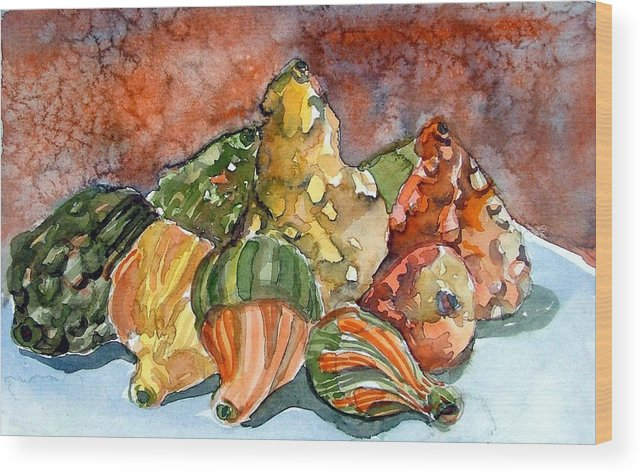 Gourds Wood Print featuring the painting Autumn Gourds by Mindy Newman