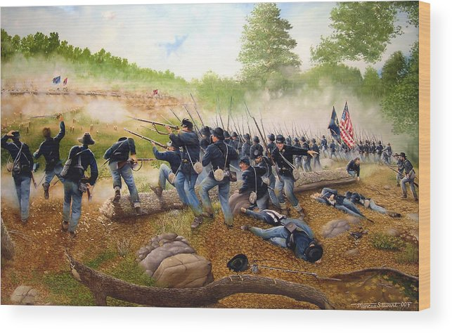 Civil War Wood Print featuring the painting Battle Of Utoy Creek by Marc Stewart