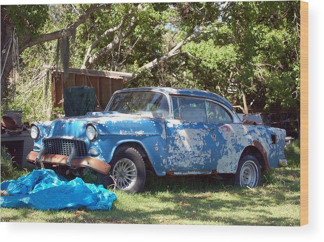 Cars Wood Print featuring the photograph Blue Car On The Bayou by Heather S Huston