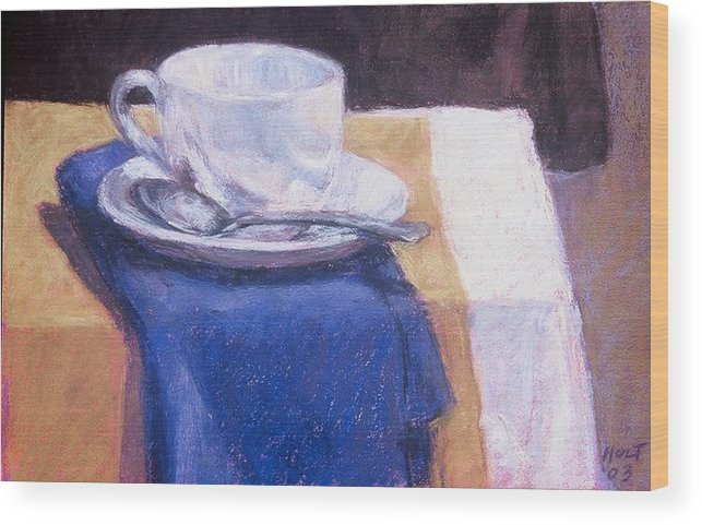 Still Life Painting Wood Print featuring the painting Blue Napkin by Dolores Holt
