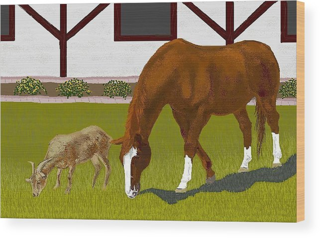 Horses Wood Print featuring the digital art Buster And Ruby by Carole Boyd