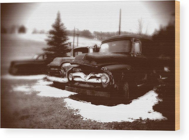 Old Cars Wood Print featuring the photograph Chocolate Ghosts by Jean Macaluso