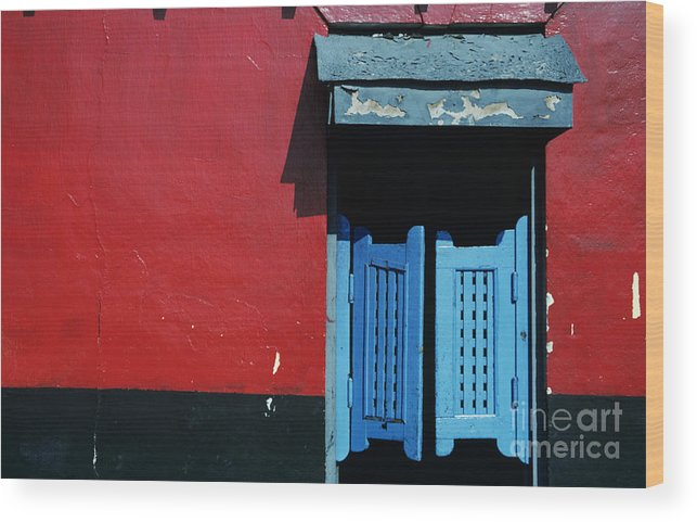 Architecture Wood Print featuring the photograph Colorful Caribbean Door by Larry Dale Gordon - Printscapes