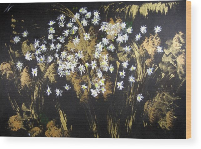 Abstract Wood Print featuring the painting Daisies In Gold Abstraction by Michela Akers