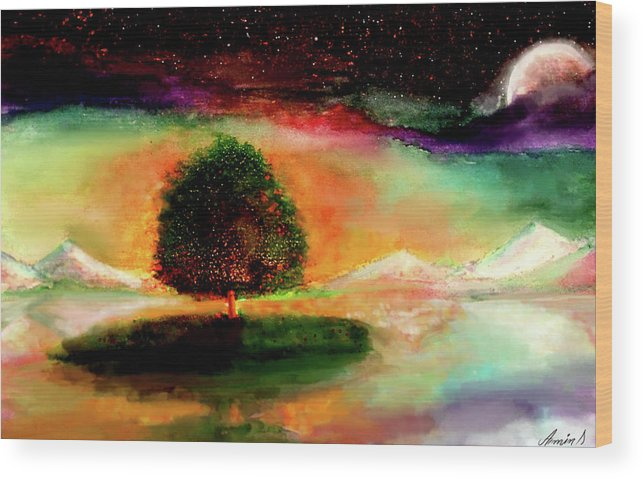 Daydream Wood Print featuring the painting Fantasia by Armin Sabanovic